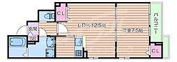 阪急千里線 千里山駅 徒歩15分の賃貸アパート 3階1LDKの間取り