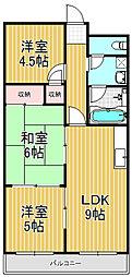 福徳ハイツ[6階]の間取り