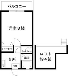 ステディーハウス神松寺[202号室]の間取り