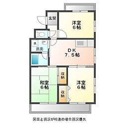 新桜アパート[301号室]の間取り