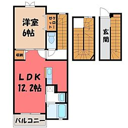 栃木県鹿沼市緑町3の賃貸アパートの間取り