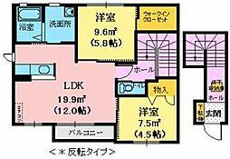 CASA Mai 虹 2階2LDKの間取り