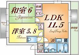 兵庫県神戸市須磨区大手町5丁目の賃貸アパートの間取り