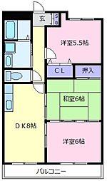 エルベコート松原[3階]の間取り