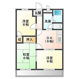 愛知県岡崎市上里2丁目の賃貸アパートの間取り