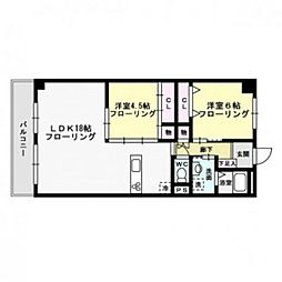 福岡県福岡市中央区今泉2丁目の賃貸マンションの間取り