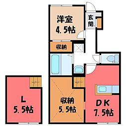 JR東北本線 宇都宮駅 バス25分 北原下車 徒歩7分の賃貸アパート 1階1SLDKの間取り