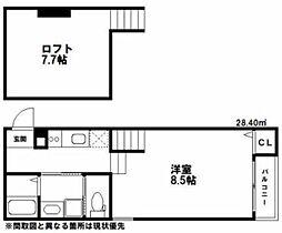 西鉄天神大牟田線 大橋駅 徒歩8分の賃貸アパート 1階1Kの間取り