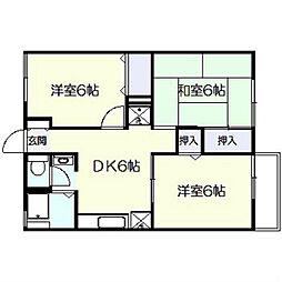 神奈川県横浜市泉区中田東3丁目の賃貸アパートの間取り