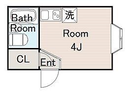今市コーポ 1階ワンルームの間取り