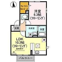 埼玉県戸田市笹目1丁目の賃貸アパートの間取り