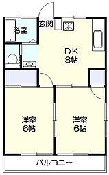 神奈川県川崎市宮前区有馬2丁目の賃貸アパートの間取り