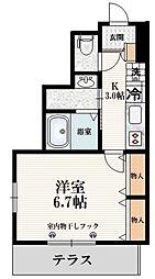 JR山手線 駒込駅 徒歩6分の賃貸マンション 1階1Kの間取り