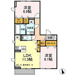 京王線 長沼駅 徒歩18分の賃貸アパート 1階2LDKの間取り