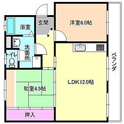 釈尊寺第一住宅13号棟[4階]の間取り
