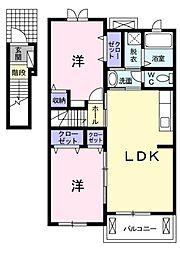 愛知県岡崎市中島町字井龍の賃貸アパートの間取り
