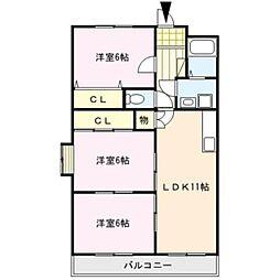 センチュリー中央[6階]の間取り