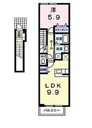 南海高野線 白鷺駅 徒歩19分の賃貸アパート 2階1LDKの間取り