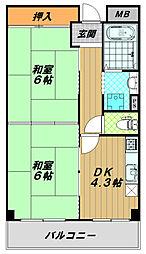 シャロン鷹取東[2階]の間取り