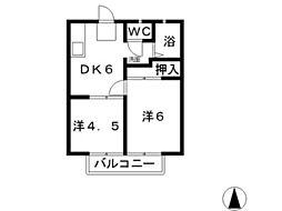 エフシリーズ安江II[203号室]の間取り