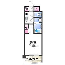セレニテ日本橋プリエ 3階1Kの間取り
