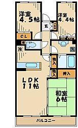 神奈川県伊勢原市高森7丁目の賃貸マンションの間取り