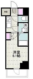 BANDOBASHI KNOTS 4階1Kの間取り