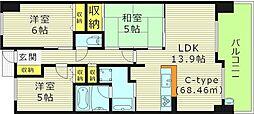 レジディア都島1 7階3LDKの間取り
