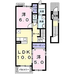 愛知県豊橋市天伯町字東沢の賃貸アパートの間取り