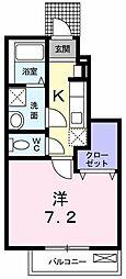 JR青梅線 昭島駅 徒歩11分の賃貸アパート 1階1Kの間取り