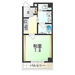 JR大阪環状線 今宮駅 徒歩8分の賃貸マンション 8階1Kの間取り