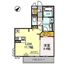 Osaka Metro御堂筋線 北花田駅 徒歩15分の賃貸アパート 3階1LDKの間取り
