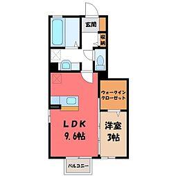 茨城県古河市下辺見の賃貸アパートの間取り