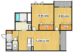 (仮)城東区シャーメゾン今福西4丁目PJ[203号室]の間取り