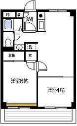 神奈川県横浜市南区六ツ川1丁目の賃貸マンションの間取り