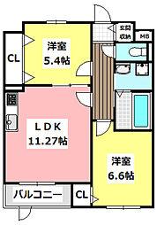 JR東海道・山陽本線 JR総持寺駅 徒歩21分の賃貸マンション 1階2LDKの間取り
