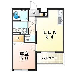 阪急宝塚本線 庄内駅 徒歩12分の賃貸アパート 3階1LDKの間取り