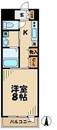 小田急多摩線 唐木田駅 徒歩2分の賃貸マンション 1階1Kの間取り