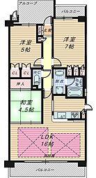 大阪府大阪市城東区野江2丁目の賃貸マンションの間取り