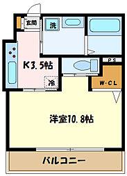 JR南武線 中野島駅 徒歩12分の賃貸アパート 2階1Kの間取り