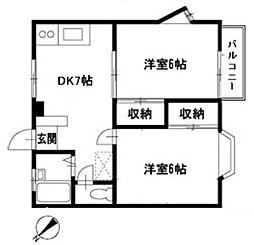 モンテベール生田[2階]の間取り