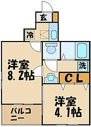 西武多摩川線 是政駅 徒歩7分の賃貸アパート 1階2Kの間取り