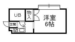 阪急宝塚本線 山本駅 徒歩24分の賃貸マンション 1階ワンルームの間取り