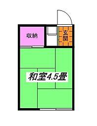 東京都立川市一番町1丁目の賃貸アパートの間取り
