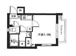 モン・シャトー中野新橋 2階1Kの間取り