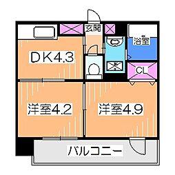 ステージ村田11 4階2DKの間取り