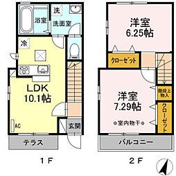 都営新宿線 篠崎駅 徒歩11分の賃貸テラスハウス 2LDKの間取り