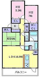 ローレルコート北野田[14階]の間取り