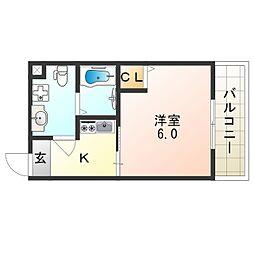 南海線 住ノ江駅 徒歩8分の賃貸マンション 6階1Kの間取り