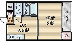 大阪府堺市西区鳳中町5丁の賃貸マンションの間取り